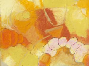 orange, pastel, 7 x 7 in., 2011