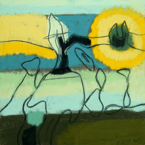 sun salutations, watercolor, 8 x 8 in., 2010