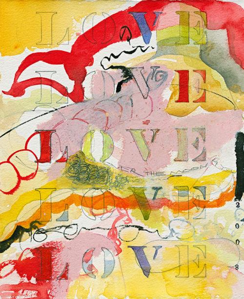 love, love, love, watercolor, 9 x 7 in., 2008