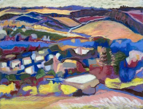 urban village, oakland hills, pastel, 20 x 25.5 in., 1996