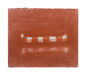 glyphs #3, conte sanguine drawing pencils, 6 x 6 in.