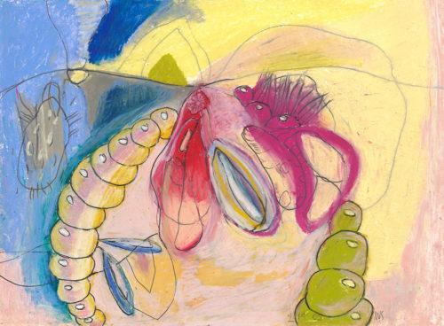 under, oil pastel, 8 x 9 in., 2005